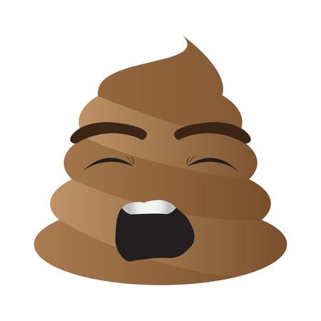 Poop emoji yawning 向量圖像