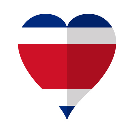 Isolated flag of Costa Rica on a heart shape