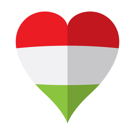 Isolated flag of Hungary on a heart shape Stock Illustratie