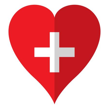 Isolated flag of Switzerland on a heart shape. Vector illustration design