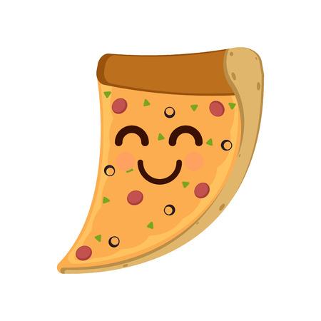 Isolated happy slice of pizza emote