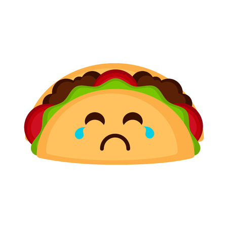 Isolated sad taco emote. Vector illustration design