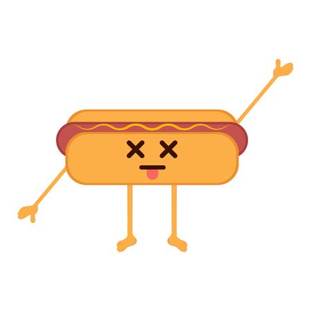 Isolated dead hot dog emote. Vector illustration design