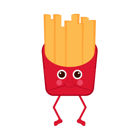Isolated french fries emote with hands on mouth. Vector illustration design