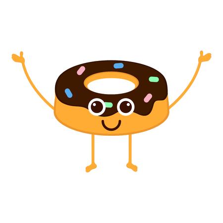 Isolated happy donut emote. Vector illustration design Иллюстрация