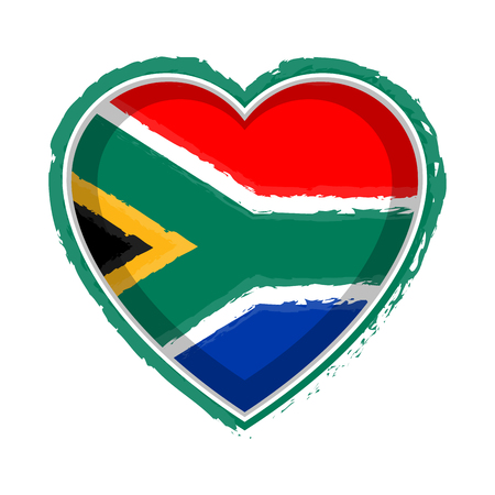 Heart shaped flag of South Africa. Vector illustration design Çizim
