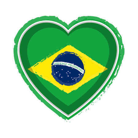 Heart shaped flag of Brazil Stock Illustratie