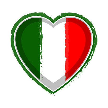 Bandiera dell'Italia a forma di cuore Vettoriali