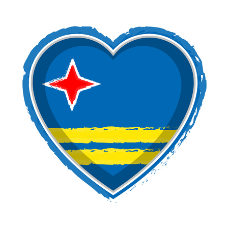 Heart shaped flag of Aruba. Vector illustration design