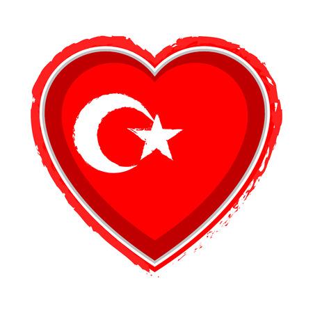 Heart shaped flag of Turkey. Vector illustration design Illustration