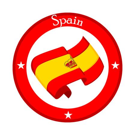 Flag of Spain on a label. Vector illustration design