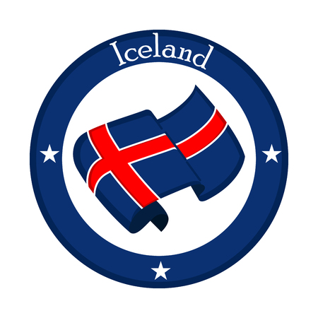 Flag of Iceland on a label. Vector illustration design
