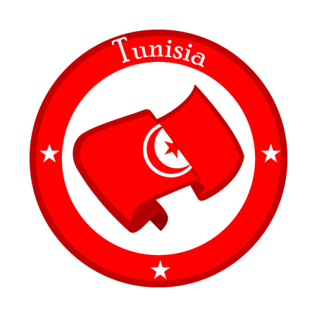 Flag of Tunisia on a label. Vector illustration design Stock Illustratie
