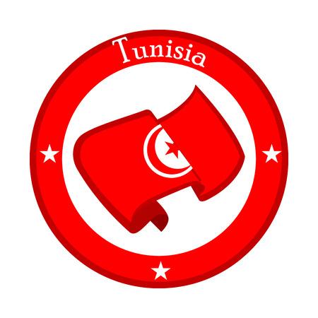 Flag of Tunisia on a label. Vector illustration design Illustration