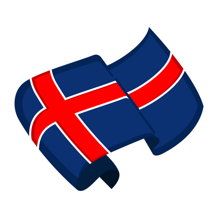 Isolated flag of Iceland. Vector illustration design