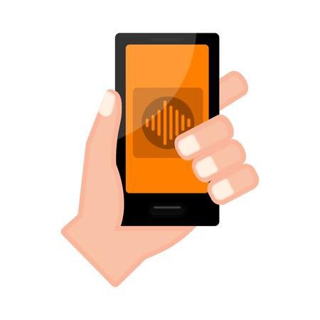 Hand holding a smartphone with a voice detector app. Vector illustration design Vetores