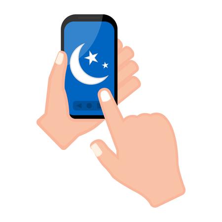 Hand holding a smartphone with a moon shape icon. Vector illustration design Ilustração