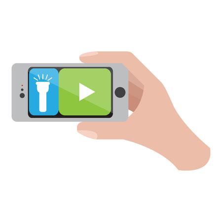 Hand holding a smartphone icon. Vector illustration design Ilustração