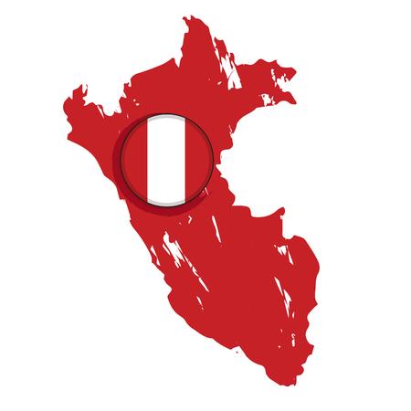 Map of Peru with a label. Vector illustration design Ilustração