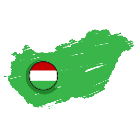 Map of Hungary with a label. Vector illustration design 向量圖像