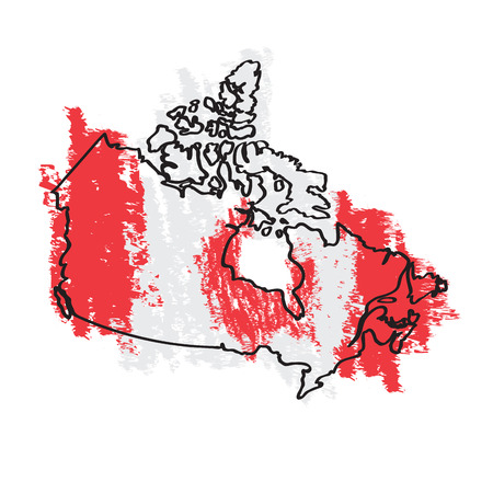 Sketch of a map of Canada. Vector illustration design