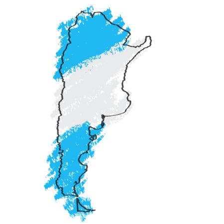 Sketch of a map of Argentina. Vector illustration design
