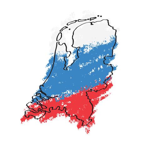 Sketch of a map of the Netherlands. Vector illustration design Illustration