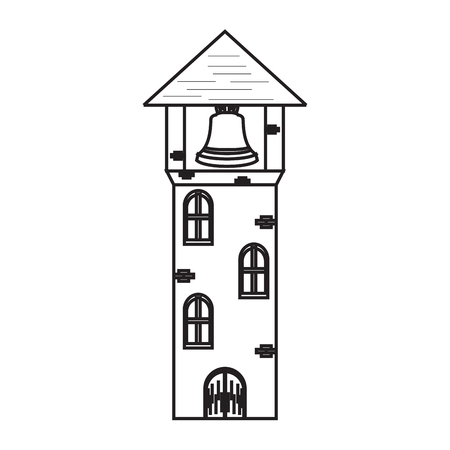 Isolated medieval tower with a bell icon. Vector illustration design