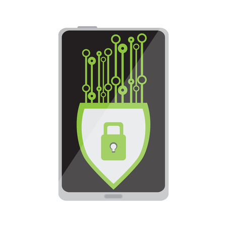 Lockpad on a cellphone. Cyber Security. Vector illustration design