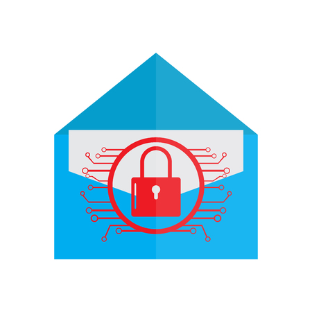 Lockpad with a network on a letter. Cyber security. Vector illustration design Illustration