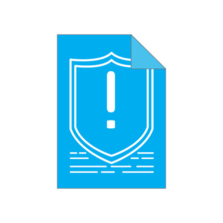 Warning symbol on a paper. Cyber security. Vector illustration design