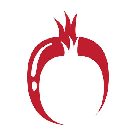 Silhouette of a pair of pomegranates. Vector illustration design Illustration