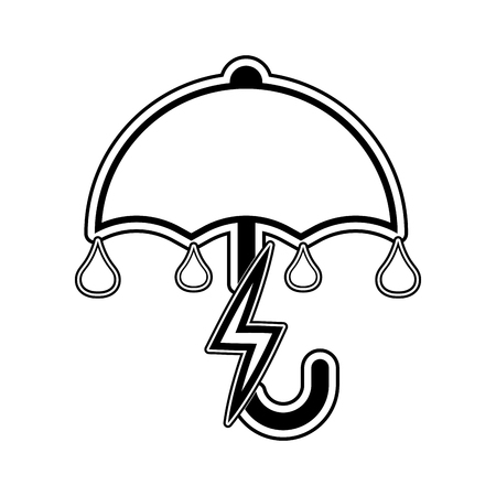 Isolated thunderstorm weather icon with an umbrella. Vector illustration design