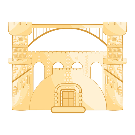 Isolated medieval bridge building. Vector illustration design Illustration