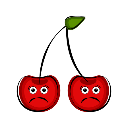 Sad cherry cartoon character emote. Vector illustration design