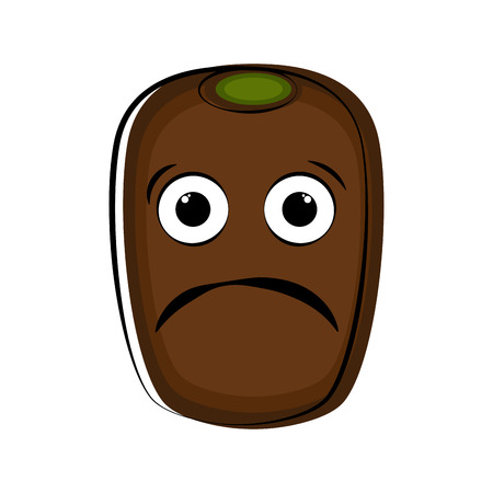 Sad kiwi fruit cartoon character emote. Vector illustration design 矢量图像