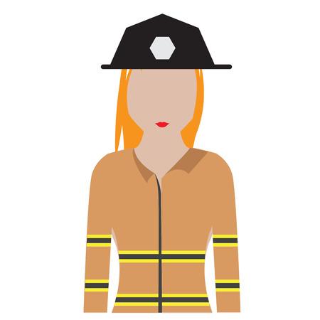 Avatar de bombero femenino aislado. Diseño de ilustración vectorial Ilustración de vector