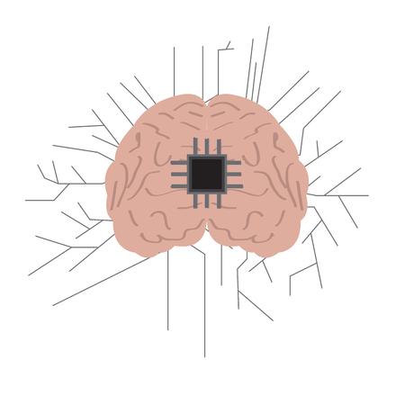 Isolated brain network icon. Artificial intelligence. Vector illustration design Ilustração