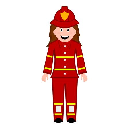 Isolierte weibliche Feuerwehrmann-Symbol. Vektorillustrationsdesign Vektorgrafik