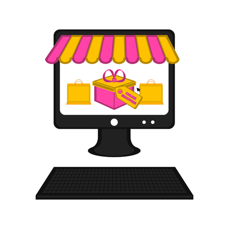 Computer with a store front. Online shopping. Vector illustration design