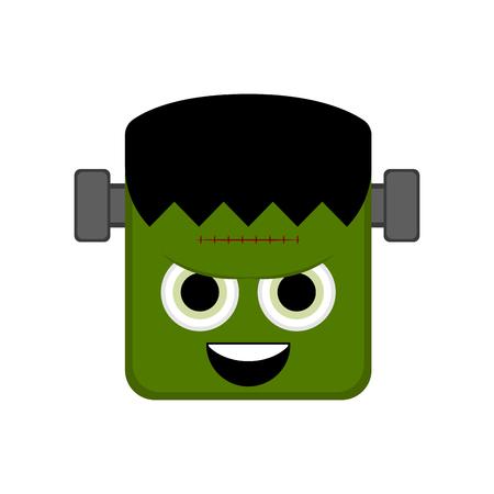 Cute halloween zombie cartoon character. Vector illustration design