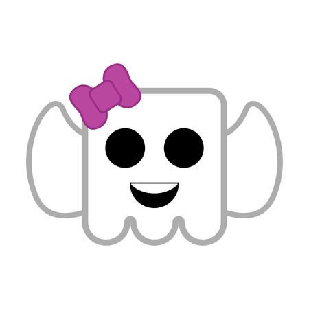 Cute halloween ghost cartoon character. Vector illustration design