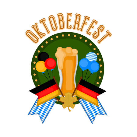 Oktoberfest label with a beer glass and flags. Vector illustration design