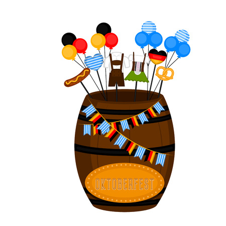 Oktoberfest barrel with traditional objects