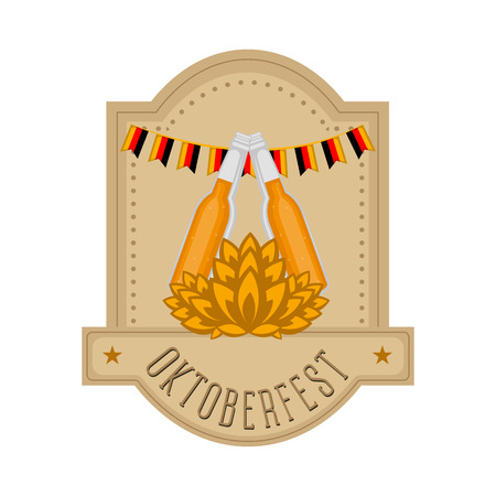 Oktoberfest label with beer bottles and wheat. Vector illustration design