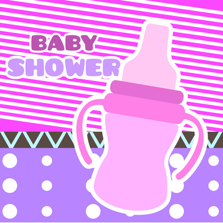 Baby shower card with a baby bottle. Vector illustration design