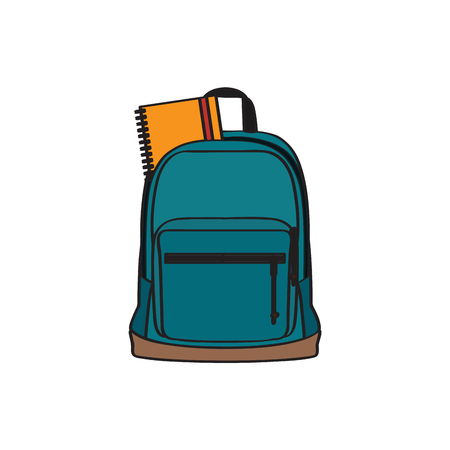 Isolated school bag with a book. Vector illustration design Illustration