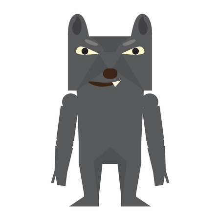 Cute halloween werewolf cartoon character. Vector illustration design Illustration