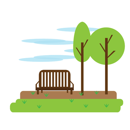 View of a park with a bench. Vector illustration design Illustration