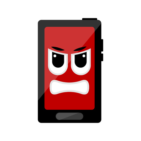 Isolated angry cellphone emote. Vector illustration design